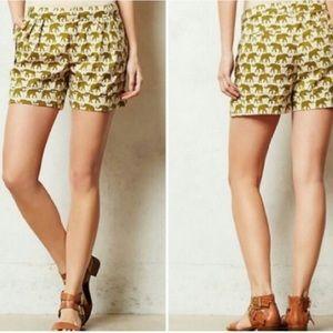 Anthro Cartonnier elephant pleated shorts